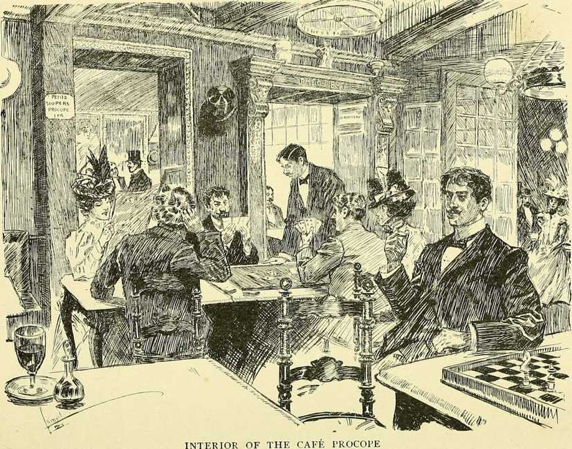 Drawing of the Interior of the Cafe Procope in Paris